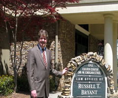 Gwinnett County Civil and Criminal Attorney Russell T. Bryant outside his office